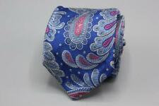 ROBERT TALBOTT 7 Fold Unlined Silk Tie. Blue w Pink Floral Paisley.