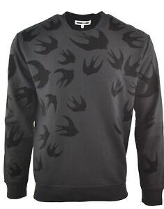 MCQ VELOUR BLACK SWALLOW SWEATSHIRT JUMPER ALEXANDER MCQUEEN BIRD PRINT RARE
