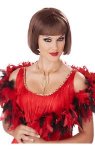 Womens 20s Flapper Brown Wig Gangster Moll Film Fancy Dress Costume Accessory