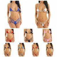 Womens Triangle Bikini Sets Mini Micro Bra Tops Thong Bottoms Swimwear Swimsuit
