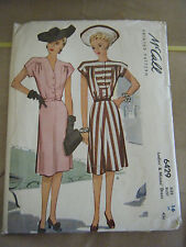 Vintage 1940's McCall 6429 Misses Dresses Pattern - Size 16 Bust 34