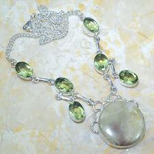 BEAUTIFUL PRASIOLITE GREEN AMETHYST FULL MOON LIGHT JASPER 925 SILVER NECKLACE