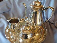 Vintage 1947 Sheridan silver plated china - teapot, tray, creamer and sugar bowl