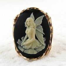 Butterfly Fairy Cameo Ring 14K Rolled Gold Jewelry Black Resin Size Selectable