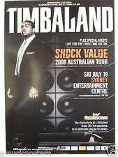 TIMBALAND SHOCK VALUE 2008 AUSTRALIAN CONCERT TOUR POSTER - Hip Hop, Rap Music