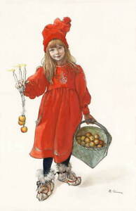 Carl Larsson Christmas Happy Giclee Art Paper Print Poster Reproduction
