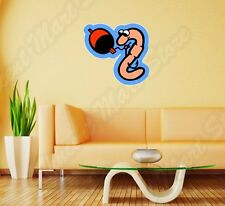 "Fish Fishing Worm Bite Hook Funny Wall Sticker Room Interior Decor 25""X20"""
