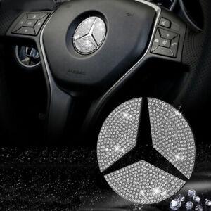 44mm Steering Wheel Center Rhinestone Emblem For Mercedes Benz E S CLA GLA Class