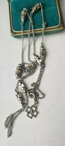 Kendra Scott beautiful clear rhinestone silvertone 32 inches long Necklace