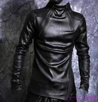 Mens Zipper Pullover Shirt Leather Slim Long Sleeve Punk Fleece Inside Warm Tops