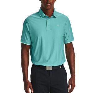 Under Armour UA HeatGear Mens Playoff Pique Turquoise Loose Golf Polo Shirt L