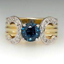 1.50CT PEACOCK COLORED SAPPHIRE AND DIAMOND WIDE BAND RING 14K YELLOW GOLD OVER