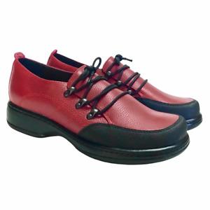Dansko Janika Womens 8.5 9 39 Slip On Leather Shoes Red Black Bump Toe Laces
