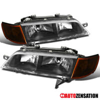 For 94-97 Honda Accord Black Headlights w/ Amber Corner Signal Lamps Pair