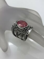 Bali Indonesia Sterling Silver 5 ct Oval Ruby long Finger Ring Size 7