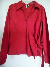 ST JOHNS BAY EVENING STRETCH RED TOP BLOUSE WRAP STYLE SZ 2XT