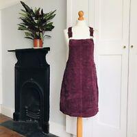Etam Plum Aubergine Purple Corduroy Mini Dungaree Pinafore Dress 12