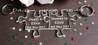 Personalised Mummy & Daddy Gift Jigsaw Keyrings *FREE GIFT BAG* - 2 Piece Set