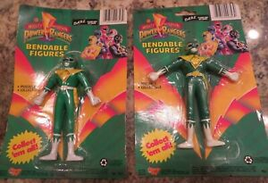"""Mighty Morphin POWER RANGERS 5.25"""" Bendable Green Tommy Figure 1994 MOC"""