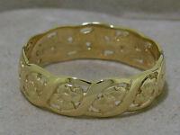 R009 ->Genuine SOLID 9ct Yellow Gold Blossom FULL-Eternity Ring Wedding size U