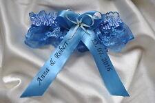 Blue Lace Wedding Giarrettiera/Personalizzata/Abiti da Sposa-cristallo