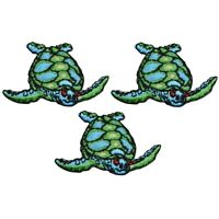 Sea Turtle Applique Patch - Ocean Sea Creature (3-Pack, Small, Iron on)