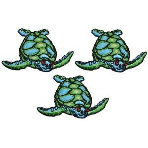 "Mini Sea Turtle Applique Patch - Ocean Sea Creature 1.25"" (3-Pack, Iron on)"