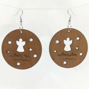 Good Quality Fashion Hollow Africa Woman Wooden Earrings Pendant 5cm E372