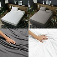 EXTRA DEEP 40CM FITTED SHEET 100% EGYPTIAN COTTON 400TC 600TC DOUBLE KING SIZES