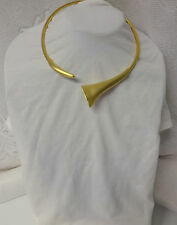 Vintage Signed Darkne Massive Chunky Runway Gold Tone Modernist Choker Necklace
