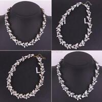 Fashion Women Jewelry Pendant Crystal Choker Chunky Bib Statement Necklace