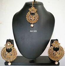 Indian Fashion Ethnic Jewelry Wedding Asian Pearl CZ Maang Tikka Earring Set 165