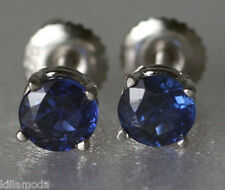 Solid 14K White Gold 1.52ct Kashmir Blue Sapphire Screw Back Stud Earrings $1295