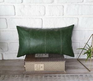 Orient M green pieced model faux lether  lumbar pillow cover -1qty