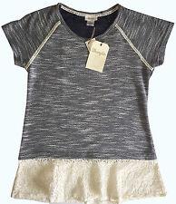 NWT Women's Wrangler Scoop Neck Lace Trim Hatch Short Sleeve Navy Top Shirt Lg