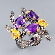 Handmade Natural Amethyst 925 Sterling Silver Ring Size 7.75/R121337