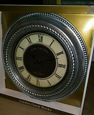 "20"" SILVER WALL CLOCK BY LONDON CLOCK WORKS *BRAND NEW IN BOX!* QUARTZ ACCURACY!"