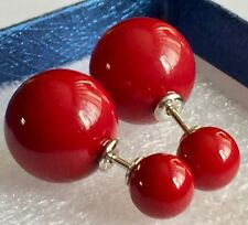 Rhodium On Silver Front & Back Stud Red Shell Pearl Earrings  925