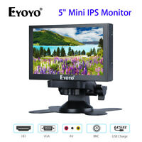 EYOYO 5 Inch Mini IPS Monitor With VGA/HD/BNC/AV Video Input Black For DVD DVR P