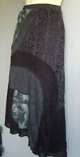 BoHo Grey and Black Textured Patchwork 3D Detail Skirt Sz Med 10/12 New (£49)