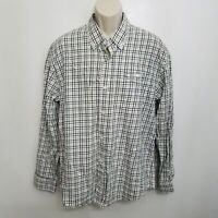 Orvis Mens Classic Skyline Button Up Shirt XL Brown Green Plaid Button Down