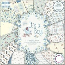 "8"" x 8"" 48 sheet full pack IT'S A BOY baby card making scrapbook craft paper"