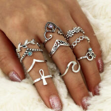 10pcs/Set Women Punk Vintage Knuckle Tribal Ethnic Hippie Stone Joint Midi Rings