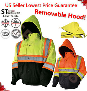 Hi-Vis Insulated Safety Bomber Reflective Winter Jacket Coat with Lining