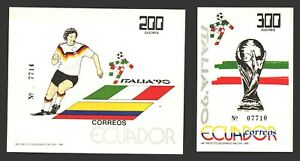 Ecuador MNH s/s soccer football fifa world cup 1990 in italy 2xS/S complete