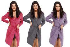Womens Hooded Fleece Dressing Gown Ladies Pink Purple Bath Robe Belt Optional