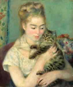 Woman with a Cat by Pierre-Auguste Renoir 60cm x 51cm Art Paper Print