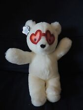 "Vintage Applause White Teddy Bear Red Heart Glasses 10"" Plush Blue Plastic Tag"