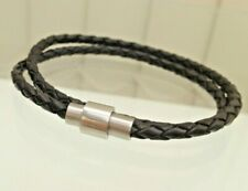 Wristband Bracelet Surfer Magnetic clasp Men's Genuine Leather Double Braided