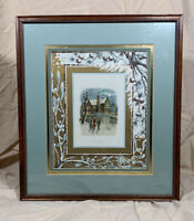Framed Vintage WINTER HOLIDAY Lithograph Print - Gold Highlighted Double Matting